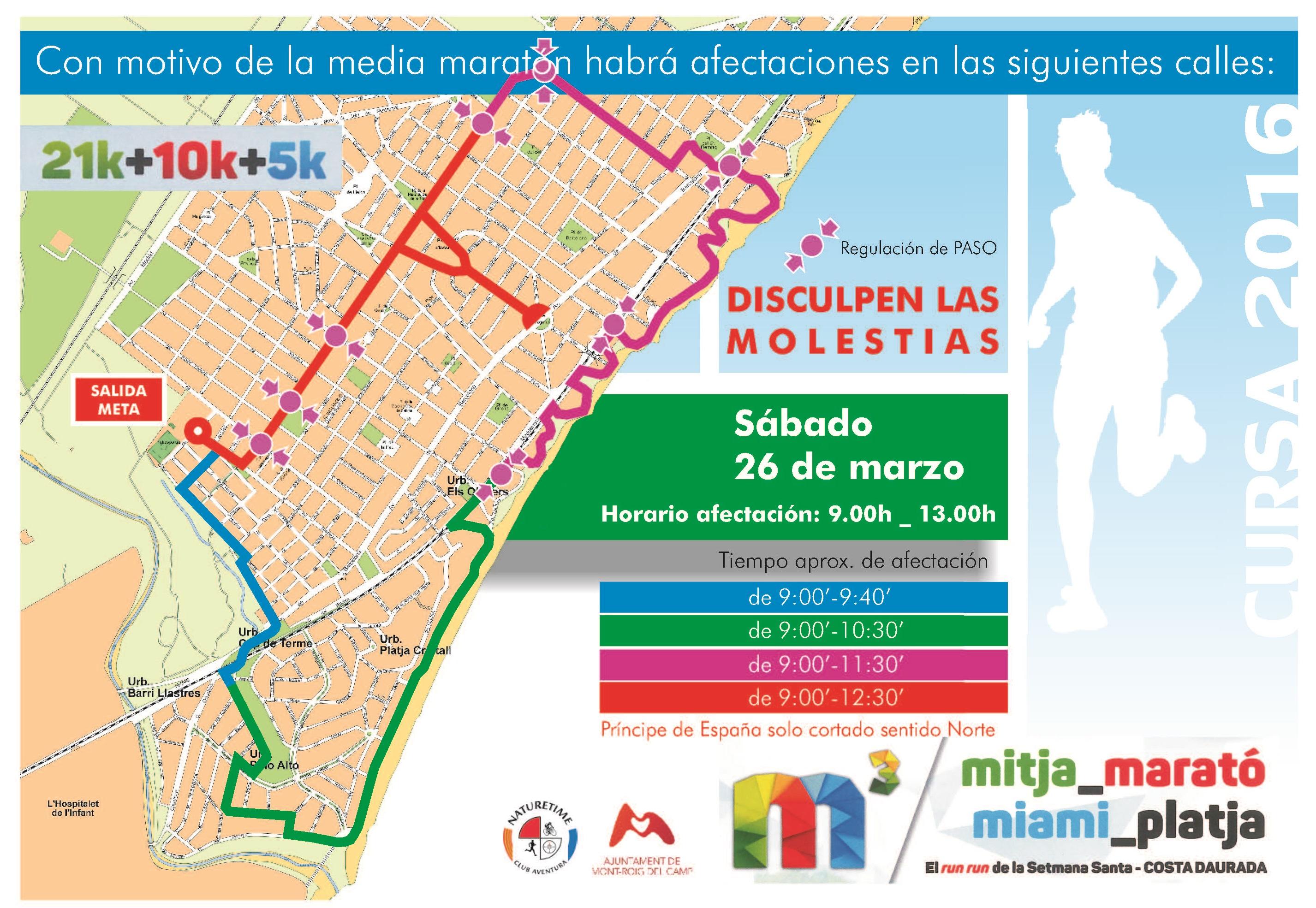 Afectaciones de calles Media Maratón de Miami Platja - Ajuntament de ...