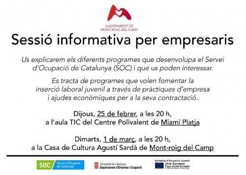 Cartell Sessió informativa per a empresaris