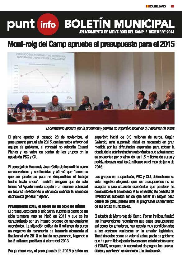 Boletín informativo diciembre 2014