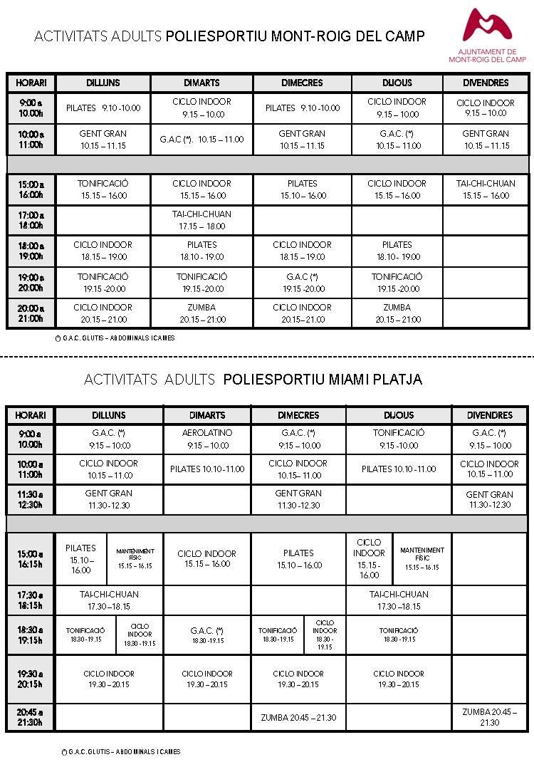 Nuevo horario clases dirigidas