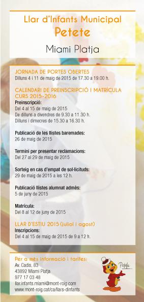 Calendari preinscripcions i matrícula Llar d'infants Petete