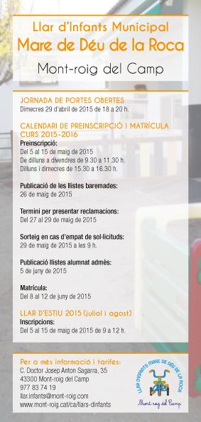 Calendari preinscripcions i matrícula Llar d'infants M. D. Roca